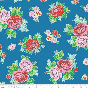 "Penny Rose Fabrics ""Strawberry Biscuit - Main in blue"" by Elea Lutz for Riley Blake"
