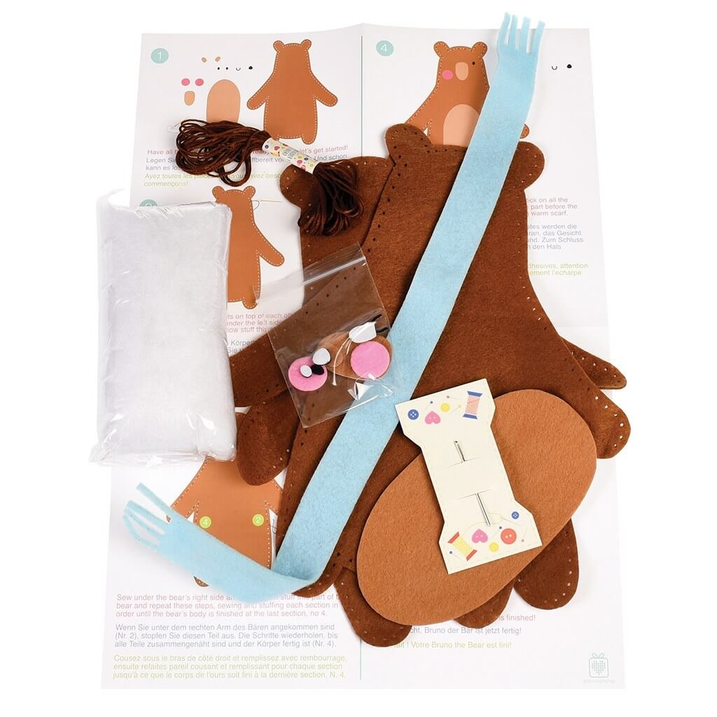 Make your own teddy bear felt kit bibelot for Make your own teddy bear template
