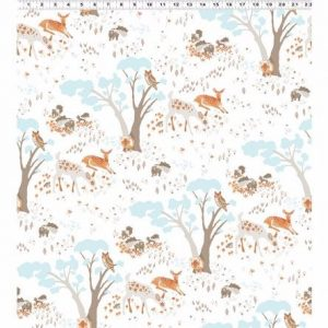 Woodland Gathering cotton fabric Animals On White clothworks