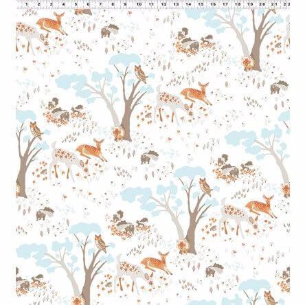 Woodland Gathering cotton fabric Animals On White clothworks