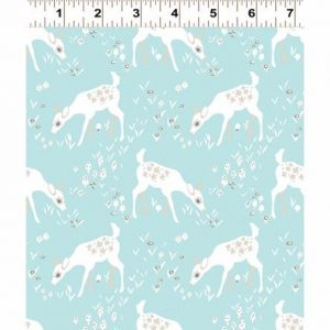 Woodland Gathering cotton fabric Deer On Blue clothworks