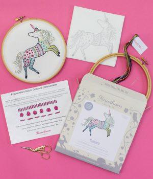 Handmade Hawthorne Embroidery Kit Unicorn