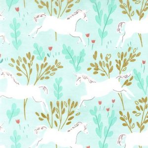 Unicorn Forest Aqua With Cotton Metallic Fabric by Michael Miller
