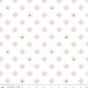 """Wonderland 2 - Tea Pot White Sparkle"" Cotton Fabric by Melissa Mortenson for Riley Blake Designs"