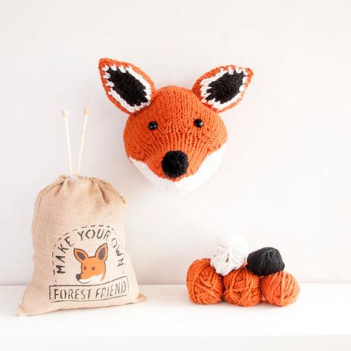 Fox head knitting kit