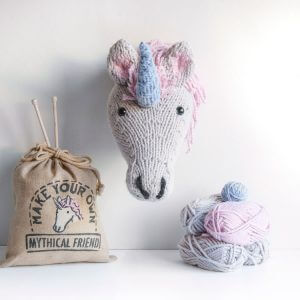 Unicorn trophy head knitting kit