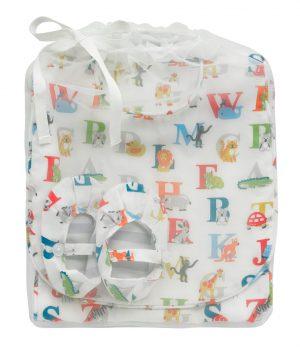 Cath Kidston Animal Alphabet Bib, Burping Cloth And Bootie Set