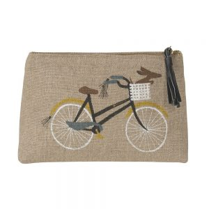 Danica Studio Linen cosmetic bag with vintage bicycle design