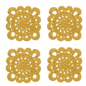 Danica Studio Mustard yellow crochet coasters