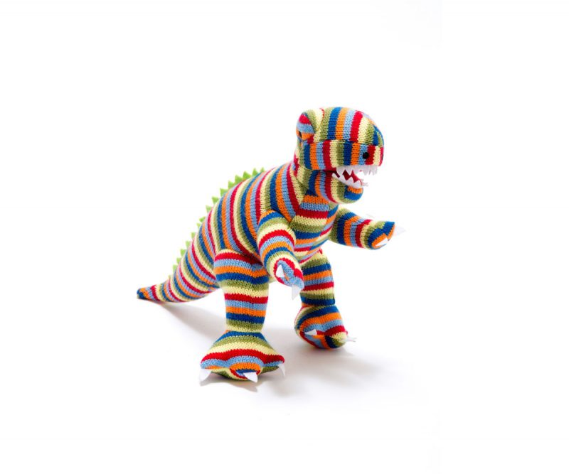 Best Years Knitted Dinosaur Stripe T Rex Toy