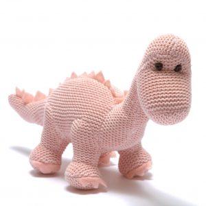 Best Years Organic Pink Diplodocus Baby Rattle
