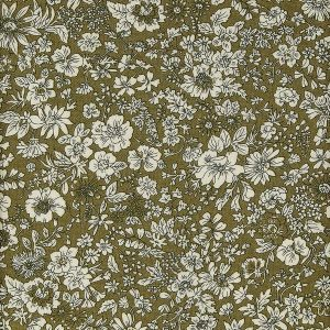Liberty London Emily Silhouette Cotton Fabric Olive