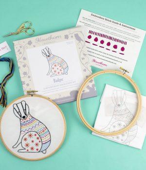 Hawthorn Handmade Badger Embroidery Kit