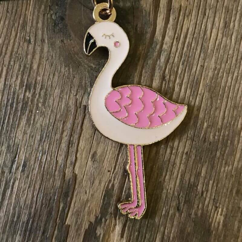 Flamingo Enamel Keyring