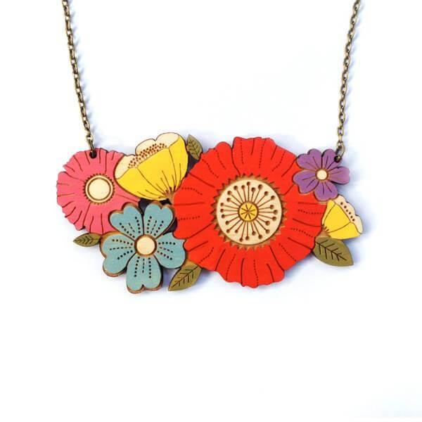 Layla Amber Poppy Bouquet Necklace