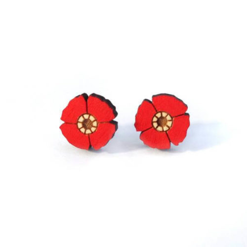Layla Amber Red Flower Earrings