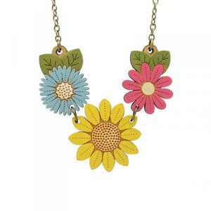 Layla Amber Sunflower and Wild Flowers Necklace
