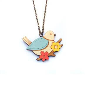 Layla Amber Miniature Blue Tit Necklace
