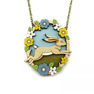 Layla Amber Jumping Hare Necklace