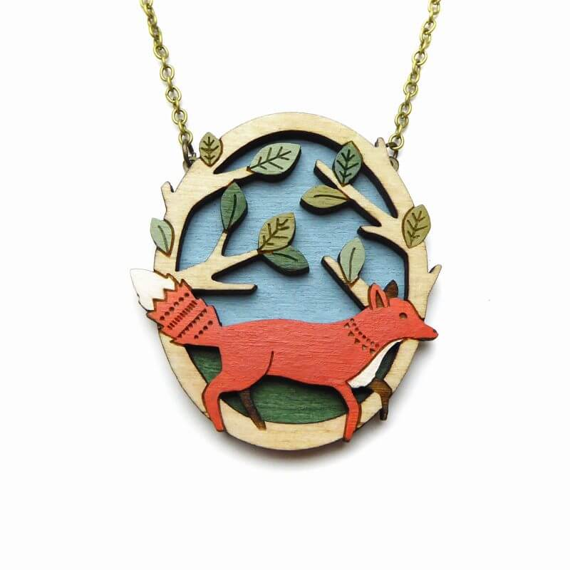 Layla Amber Running Fox Necklace