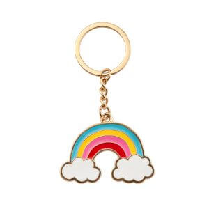 Rainbow With Clouds Enamel Keyring