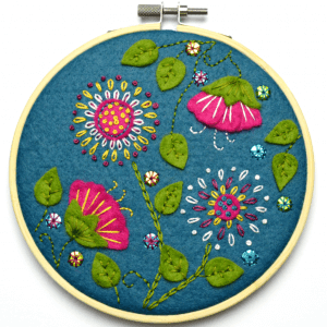 Corrine Lapierre Felt Tropical Flowers Applique Hoop Kit