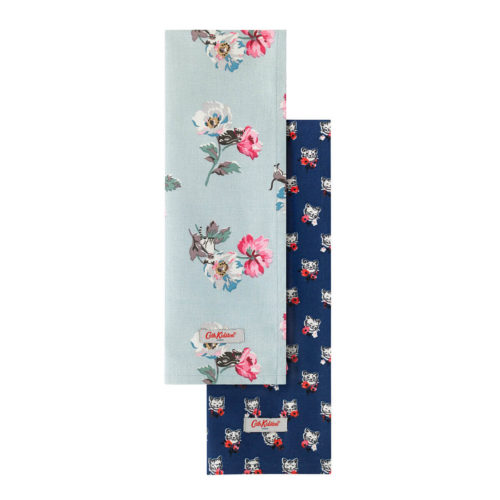 Cath Kidston Cats & Flowers Tea Towels Set of Two