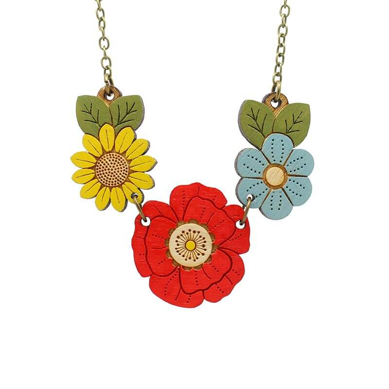 Layla Amber Poppy and Wild Flowers Necklace
