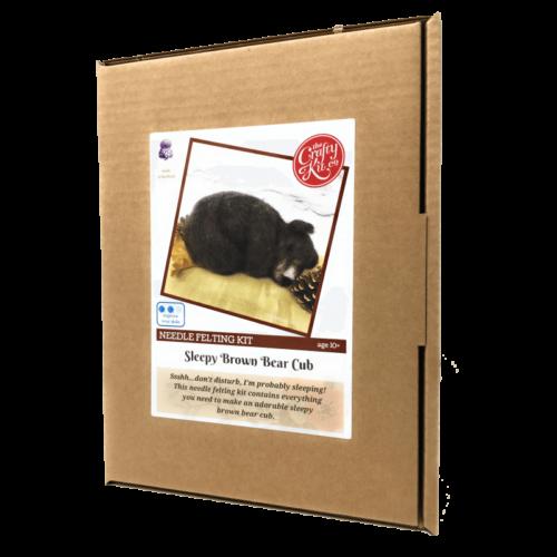 Sleepy Brown Bear Cub Needle Felting Kit