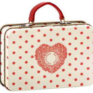 Maileg Suitcase Cream & Coral Dots