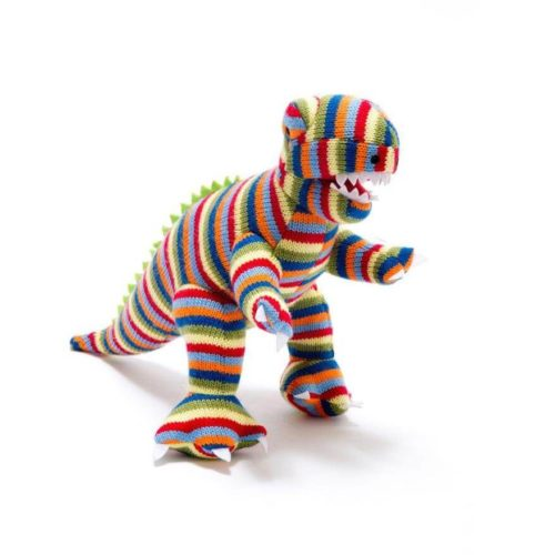 Best Years Small Stripe T-Rex Knitted Rattle
