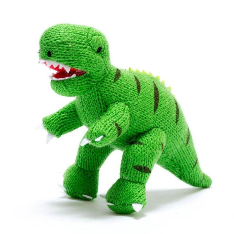 Best Years Small Green T-Rex Knitted Rattle