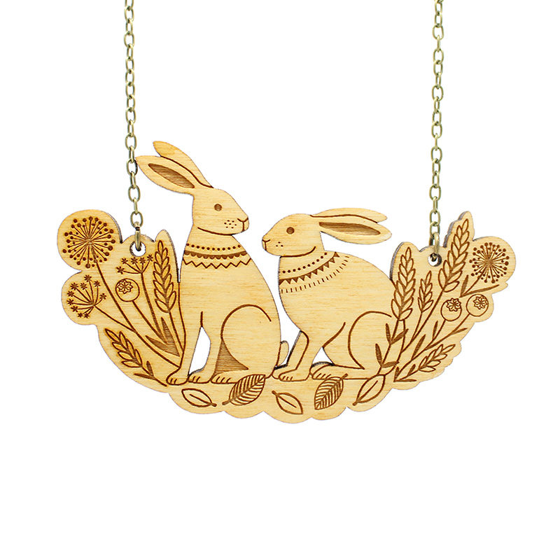 Layla Amber Spring Hares Necklace