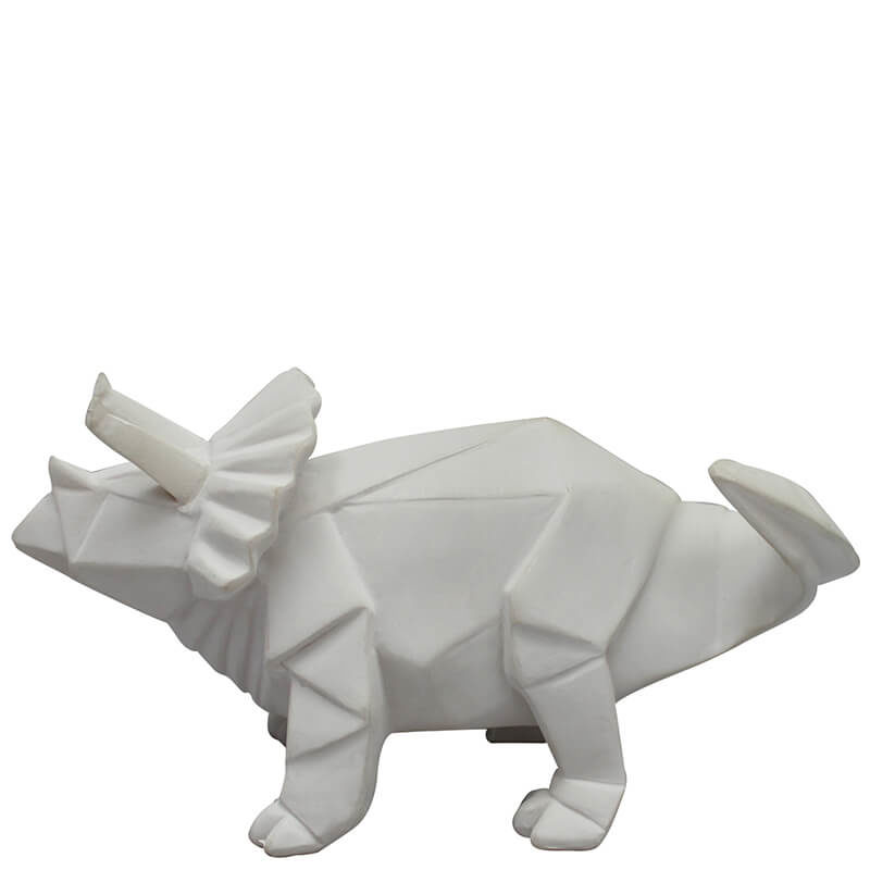 White Origami Triceratops LED Lamp