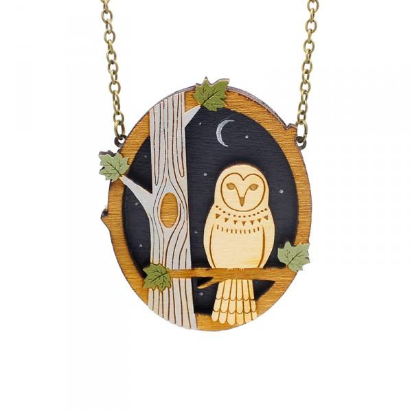 Layla Amber Night Owl Necklace