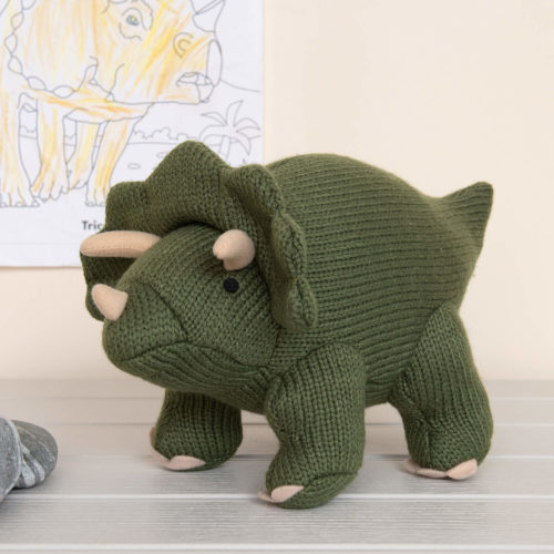 Best Years Knitted Dinosaur Moss Green Triceratops Toy