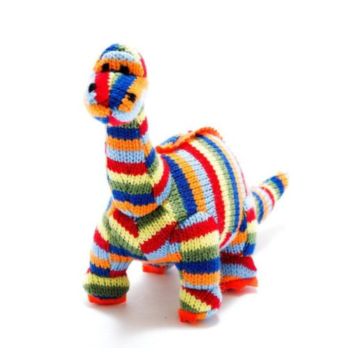 Best Years Small Stripe Knitted Diplodocus Rattle