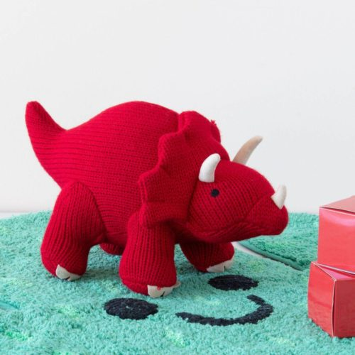 Best Years Small Red Triceratops Knitted Rattle