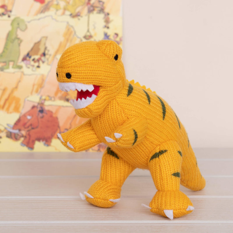 Best Years Small Yellow T-Rex Knitted Rattle