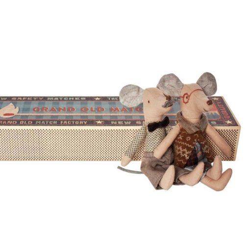 Maileg Mice Grandpa & Grandma in Matchbox