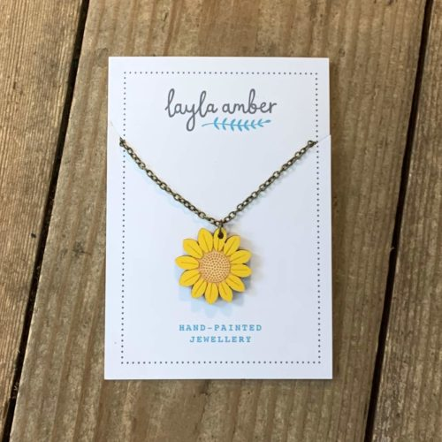 Layla Amber Sunflower Mini Flower Necklace
