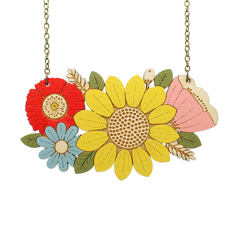 Layla Amber Sunflower Bouquet Necklace