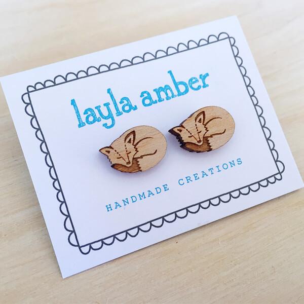 Layla Amber Sleeping Fox Earrings