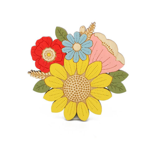 Layla Amber Sunflower Posy Brooch
