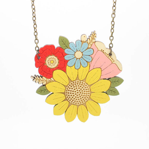 Layla Amber Sunflower Posy Necklace
