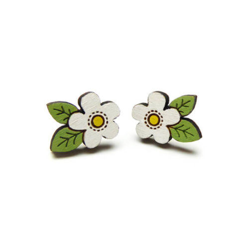 Layla Amber White Flower Earrings