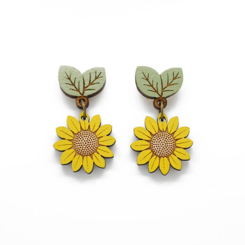 Layla Amber Wild Sunflower Drop Stud Earrings