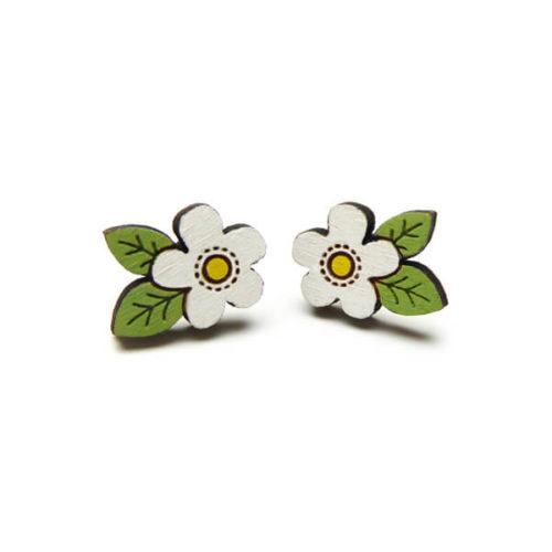Layla Amber White Flower Earrings