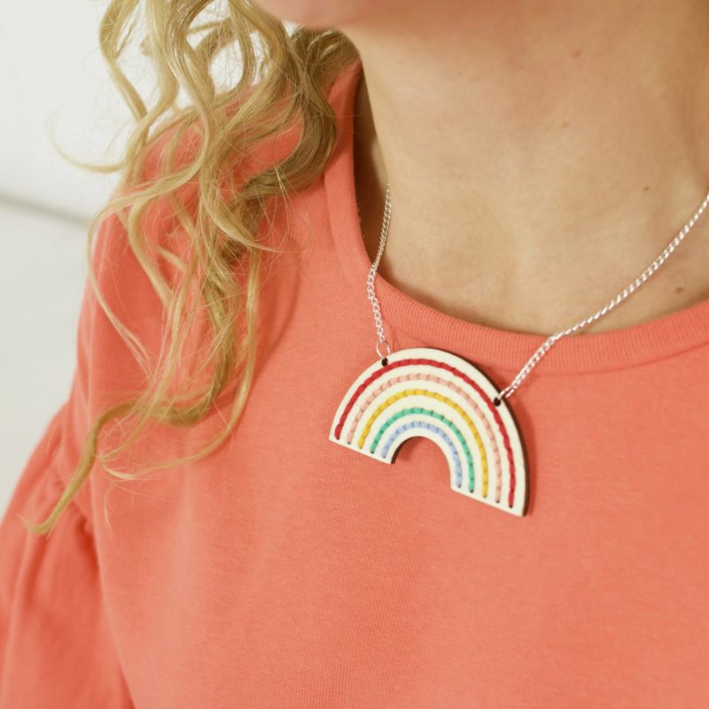 Rainbow Necklace Embroidery Kit