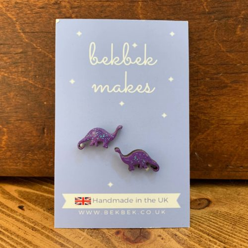 Bekbek Makes Purple Diplodocus Earrings